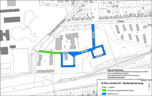 Vorschläge für die Benennung der Erschließungsstraße im Gebiet des B-Planes Jenfeld 25 (Elfsaal) erbeten